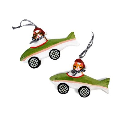Cruising Cat Ornaments - Set of 2
