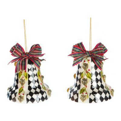 Poinsettia Bell Capiz Ornaments - Set of 2