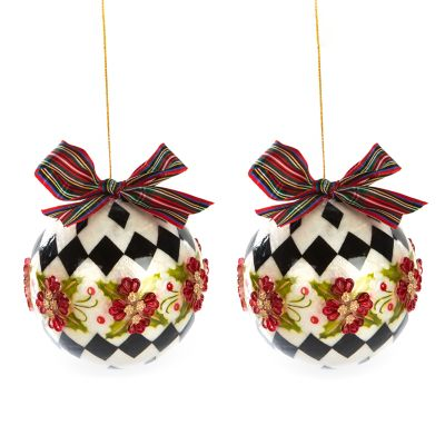 Capiz Harlequin Poinsettia Ball Ornaments - Set of 2