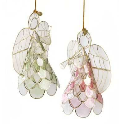 Capiz Angel Ornaments - Pastel - Set of 2