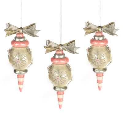 Home Sweet Snow Capiz Ornaments - Pink - Set of 3
