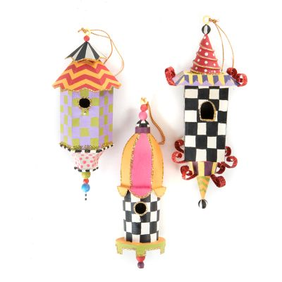 Birdhouse Ornaments - Set of 3