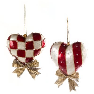 Red & White Heart Ornament - Medium - Set of 2