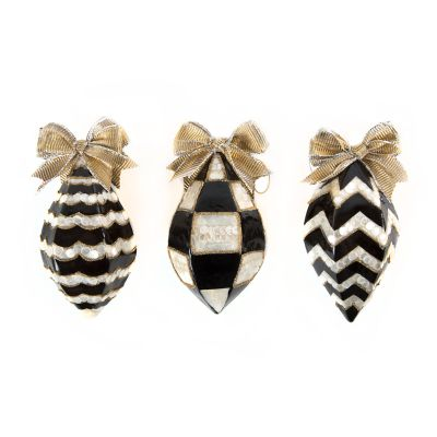 Black & White Teardrop Ornaments - Set of 3