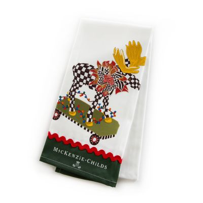 Moose on Parade Dish Towel