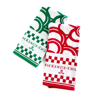 Mod Flowers Dish Towels - Red & Green - Set of 2