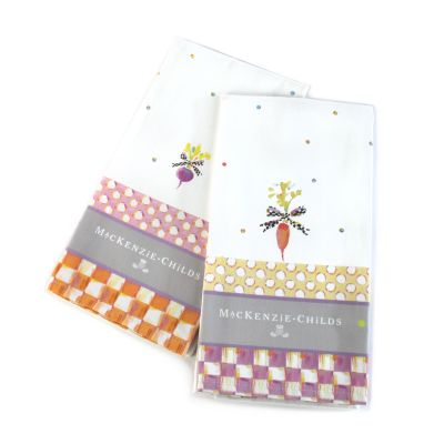 Dotty Veggie Dish Towels - Set of 2