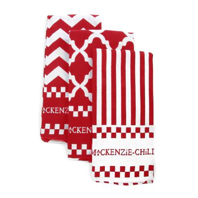 Red & White Zig Zag Dish Towels - Set of 3