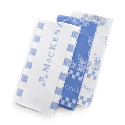 Wild Rose Dish Towels - Blue - Set of 3