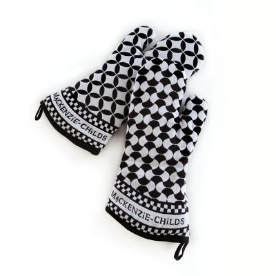 Geo Oven Mitts - Black - Set of 2