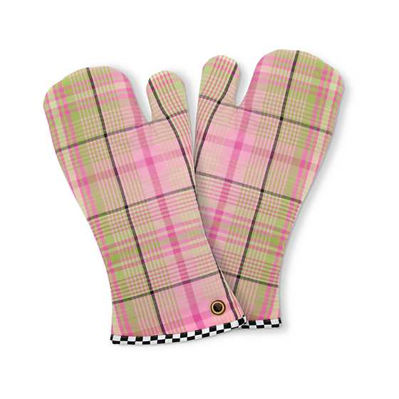 Spring Tartan Oven Mitts - Set of 2