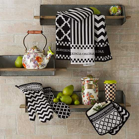 Black White Zig Zag Oven Mitts
