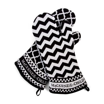 Black & White Zig Zag Oven Mitts - Set of 2