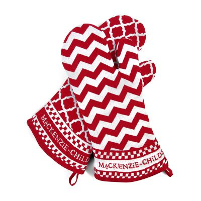 Red & White Zig Zag Oven Mitts - Set of 2