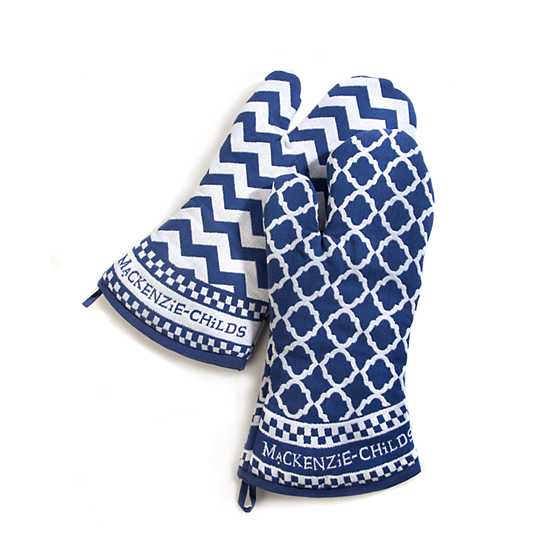 Blue & White Zig Zag Oven Mitts - Set of 2 image two