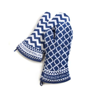 Blue & White Zig Zag Oven Mitts - Set of 2