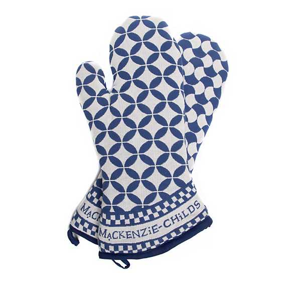 Geo Oven Mitts - Royal - Set of 2 image three