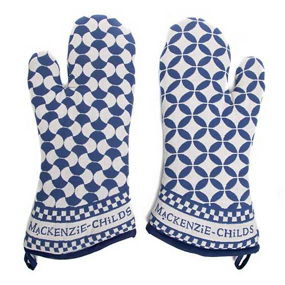 Geo Oven Mitts - Royal - Set of 2