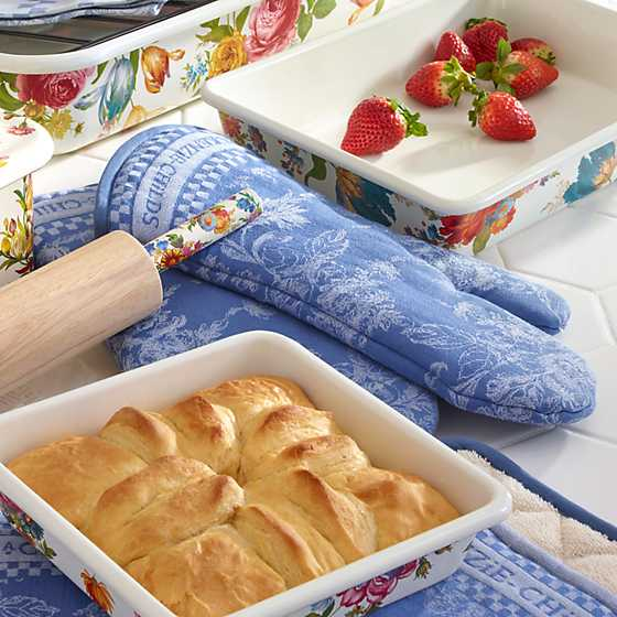 Wild Rose Oven Mitts - Blue - Set of 2