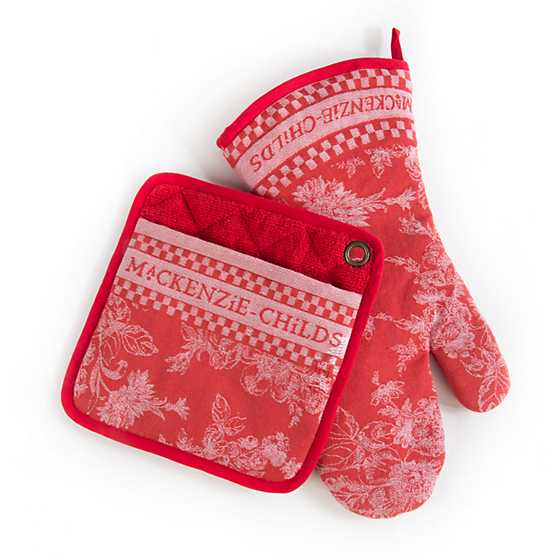 Wild Rose Oven Mitts - Red - Set of 2