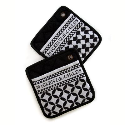 Geo Pot Holders - Black - Set of 2