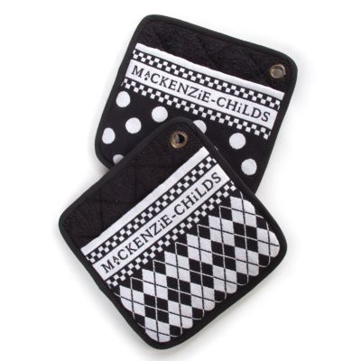Black & White Dot Pot Holders - Set of 2