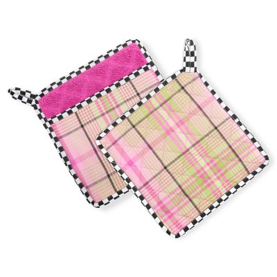Spring Tartan Pot Holders - Set of 2