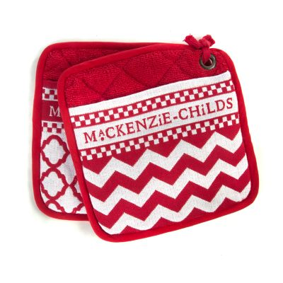 Red & White Zig Zag Pot Holders - Set of 2