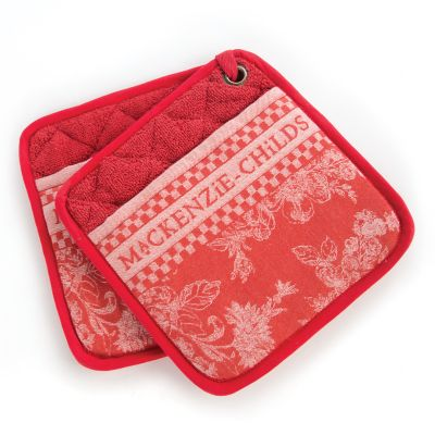 Wild Rose Pot Holders - Red - Set of 2