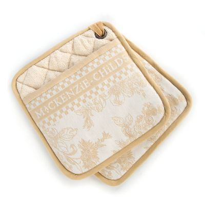 Wild Rose Pot Holders - Wheat - Set of 2