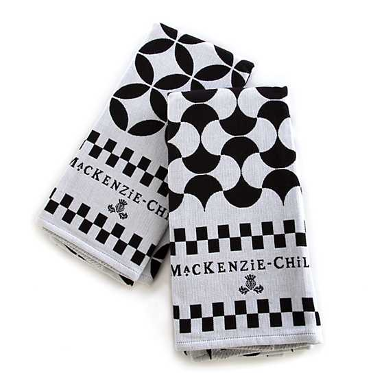 Geo Dish Towels - Black - Set of 2