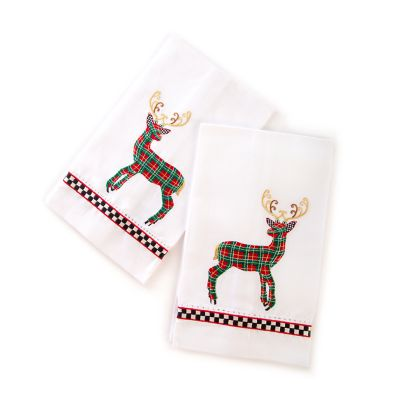 Tartan Deer Guest Towels - Set of 2