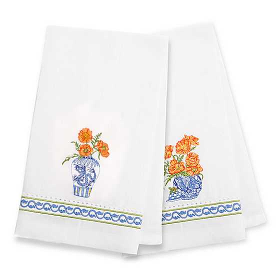 Ming Poppies Guest Towels - Set of 2