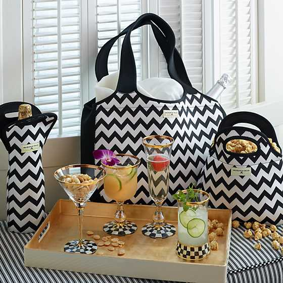 Zig Zag Wine Tote - Black image two