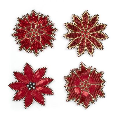 Poinsettia Beaded Coasters - Set of 4