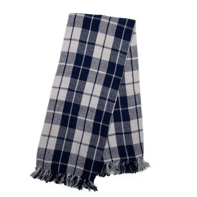 Windowpane Throw - Blue & White