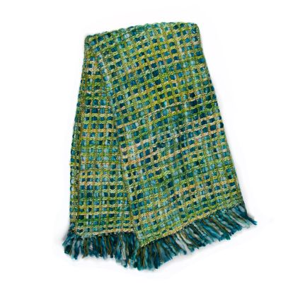 Image for Basket Weave Throw - Peacock