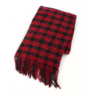 Houndstooth Throw - Red