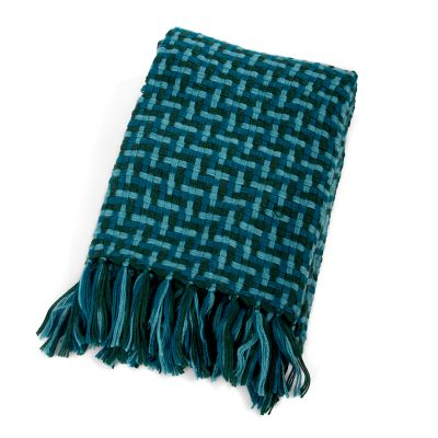 Basketweave Throw - Teal