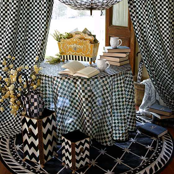 "90"" Round Courtly Check Tablecloth - Black Trim image four"