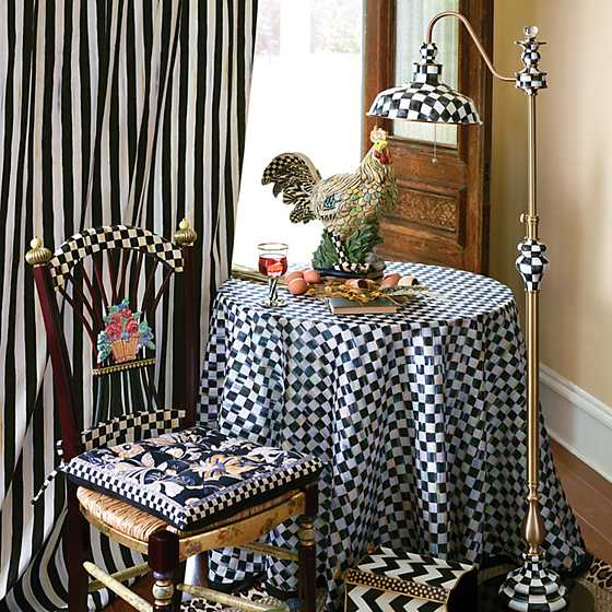 "90"" Round Courtly Check Tablecloth - Black Trim image five"