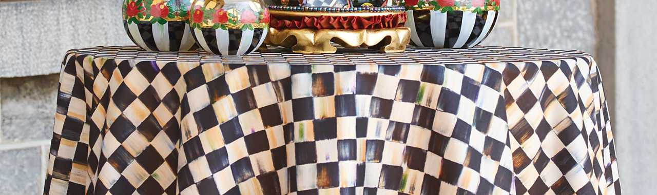 "90"" Round Courtly Check Tablecloth - Black Trim Banner Image"
