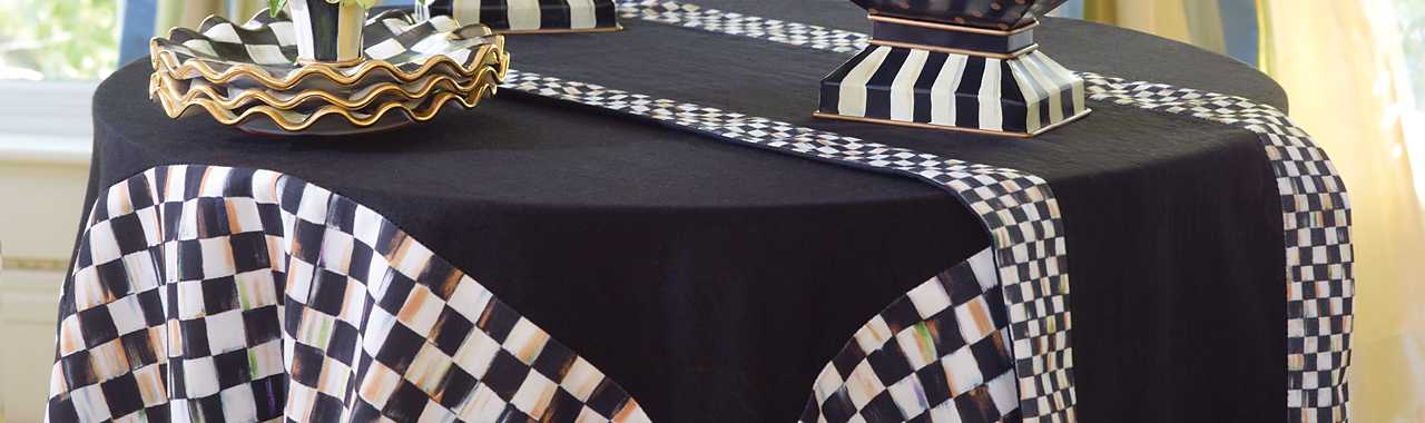 Courtly Check Table Runner - Black Banner Image