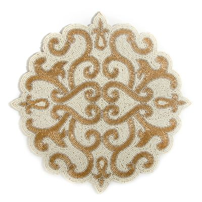 Scroll Beaded Placemat - Gold
