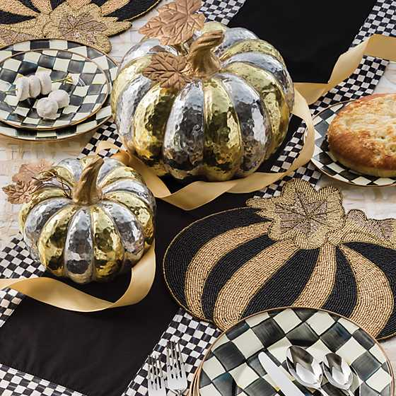 Pumpkin Beaded Placemat - Black & Gold image two