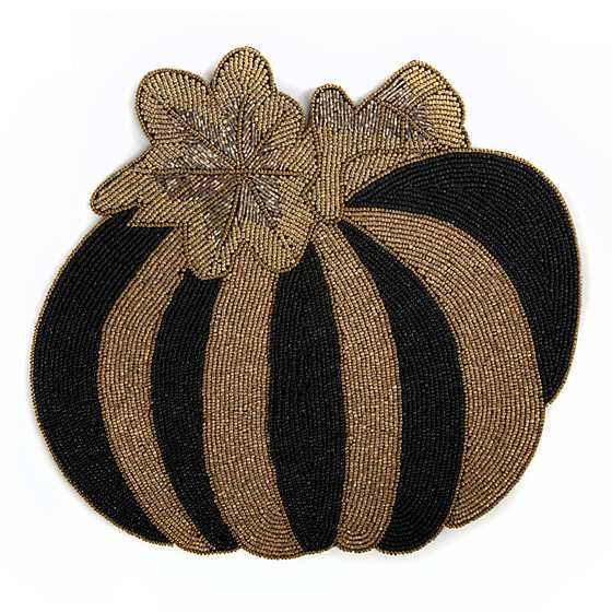 Pumpkin Beaded Placemat - Black & Gold