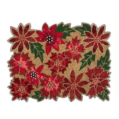 Poinsettia Beaded Placemat