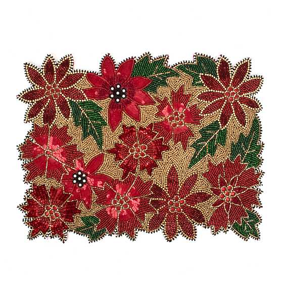 Poinsettia Beaded Placemat image one