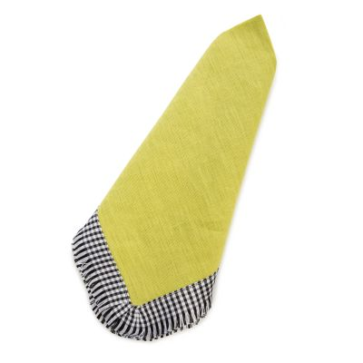 Gingham Trim Napkin - Chartreuse