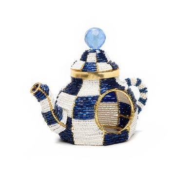 Image for Tea Kettle Napkin Ring - Royal Check